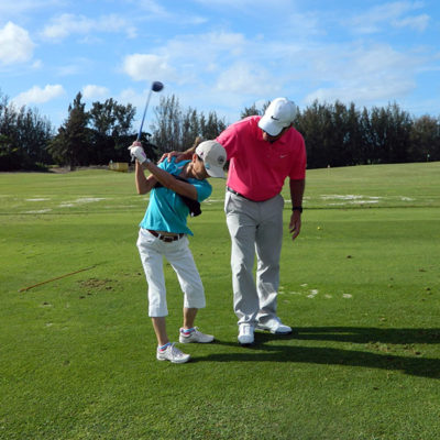 Golfing lesson in Hawaii
